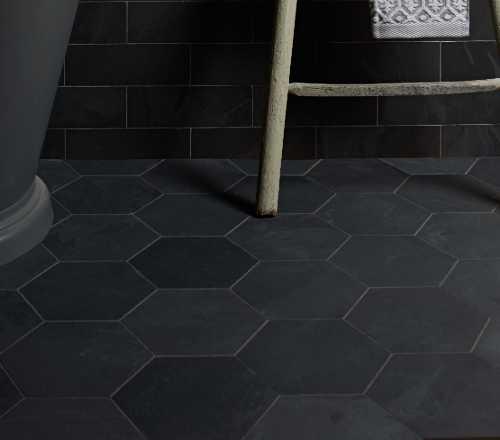 black slate hexagon tiles