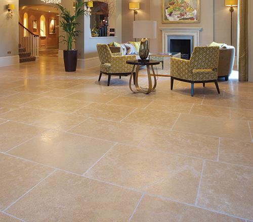 aged Bernac Tumbled limestone floor tiles