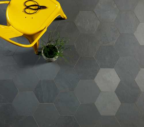 grey slate hexagons